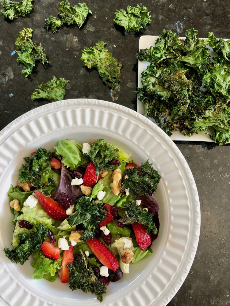 Maple Balsamic Kale Chip Salad